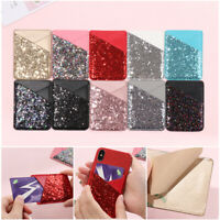 Leather Credit Card Holder Cell Phone Wallet Pocket Sticker Adhesive Pouch Case