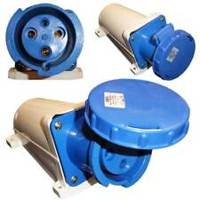 63A 3 Pin Socket Wall Mount 220 - 250V Waterproof IP67 Single Phase 2P+E 63 Amp