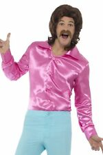 Adult Mens 1960s Pink Shirt Fancy Dress Groovy Hippy Party