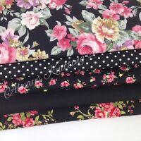 """Bundle 5 fat quarters 100% cotton material/ fabric pretty black florals 18 x 22"""""""