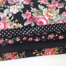 Lot de 5 Quart Tissu 100% Coton Floral Noir 45.7x56 cm