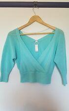 Bloch womens size XS studio 3/4 aqua crop sweater BNWT