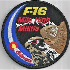 USAF 120th FIGHTER SQ PATCH -BLACK BORDER F-16 SWIRL  'MILE HIGH MILITIA'  COLOR