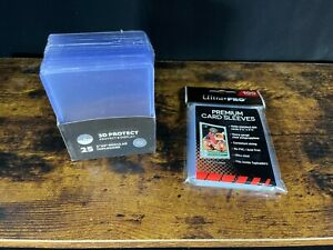 """25 3D Protect 3"""" X 4"""" Super Clear Toploaders & 100 Ultra Pro Premium Card Sleeve"""