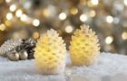 Ganz E1 Christmas Flameless LED Candle 3x2.25'' Wax Glitter Pine Cone 2pc Set