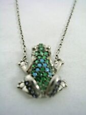 FROG  PENDANT WITH TURQUOISE & EMERALD GREEN STONES  SET IN STERLING SILVER