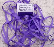 """100%PURE SILK EMBROIDERY RIBBON 1/8""""[4MM] WIDE 25 YARDS~ VIOLET ~ COLOR"""