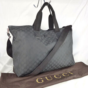 Authentic Gucci Black GG Nylon Canvas Large Tote Crossbody Shoulder Handbag VGC