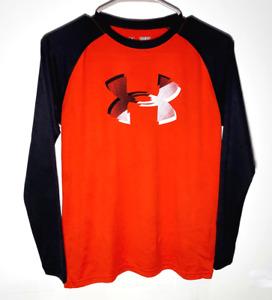 Under Armour Long Sleeve Youth Shirt | Red Black HeatGear | Boys Medium