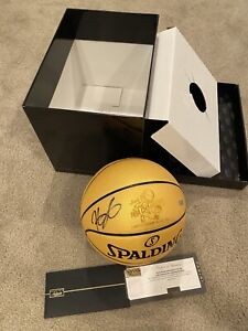 KEVIN DURANT Autographed Warriors 2018 Finals Gold Champ Basketball PANINI