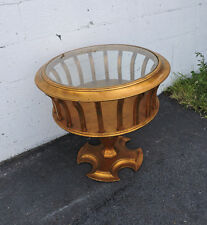 Mid Century Modern Gold Leaf Round Glass Top Side Table 7809
