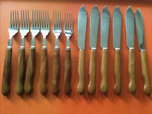 Vintage Sanenwood Fish Knives & Forks, Wood Handled Cutlery Sheffield