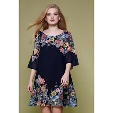Yumi Floral Flared Sleeve Tunic Dress Navy Size UK 16 LF075 NN 06