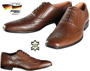 Herren Leder Schuhe Business Echt Rindleder Stil in Braun G/44Businessschuhe