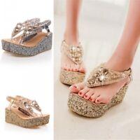 Women's Gold Glitter Platform Wedge Heels Shoes Sandals Flip Flops Thong Sandals