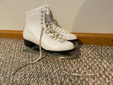 """New listing Lightly Used Ccm """"Gold"""" White Figure Ice Skates - Women's Size 9 w Blade Covers"""