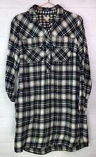 J Crew Factory Plaid Flannel Check Shirt Dress Black White Long Sleeve Sz Small