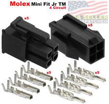 5 Set Molex 4 Pin Black Connector 13a 420mm With18 24 Awg Pin Mini Fit Jr