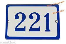 Plaque émaillée bombée NUMERO de RUE 221 blanc et bleu émail enamel plate number