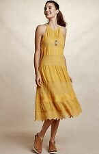 NEW Anthropologie HD in Paris yellow Lace Tiered Midi Swing Halter Dress L