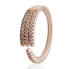Anello veretta in argento 925 placcato Oro rosa con zirconi bianchi