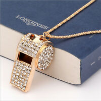 Good  Fashion Jewelry Pendant Gold Plated Crystal Chain Whistle Necklace Charm
