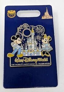 WDW 50th Anniversary Mickey And Minnie Cinderella Castle Walt Disney World Pin