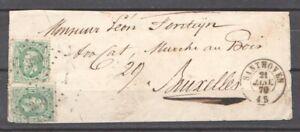 1870 Belgium cover 2x10c Leopold II numbercancel 330 + SANTHOVEN Zandhoven RARE
