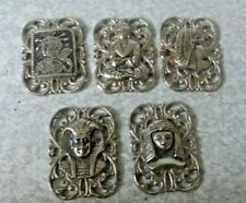 More details for five vintage white metal / silver plated  buttons - arabic / asian  2 x 3 cm