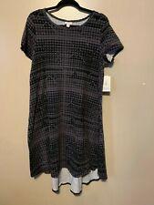 LuLaRoe Carly Dress NWT L Large Black Grey Geometric