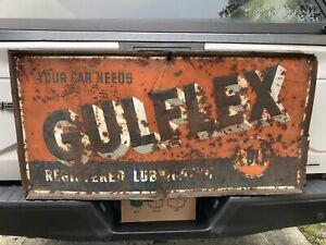 VINTAGE ORIGINAL GULFLEX GULF MOTOR OIL SIGN ADVERTISING GAS STATION BARN FIND!