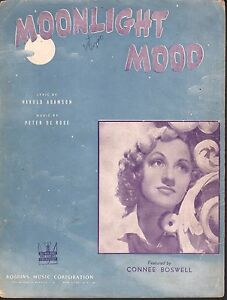 Moonlight Mood 1942 Connie Boswell Sheet Music