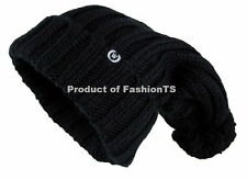 NEW Unisex Winter Oversize Long Cable Knitted Beanie Hat with Pom Pom Warm Thick