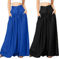 Womens Plain Wide Leg Flared Palazzo High Waist Stretch Trousers Full Pants Plus