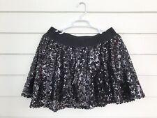 Girls Justice Sequin Skirt W/Short Black Shiny 20 Elastic Band Dance wear Circle