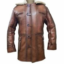Tom Hardy Bane Dark Knight Lambskin Genuine Sheepskin Shearling Leather Coat
