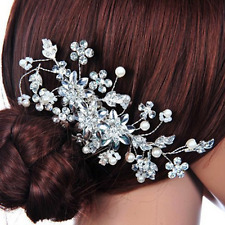 Wedding Bridal Alloy Crysal Flower Pearl Hair Comb Head Clips Pins Jewelry
