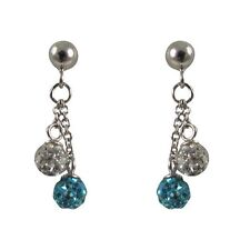 4mm Aqua & White Crystal Balls Sterling Silver Kids Dangle Earrings
