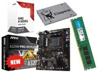 AMD Quad Core Gaming Motherboard CPU Bundle 16GB RAM SSD Windows 10 Assembled PC