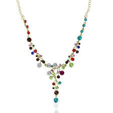 Fashion Colorful Crystal Necklace Bib Collar Choker Chain Pendant Statement Gift