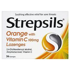 Strepsils Orange & Vitamin C Lozenges For Sore Throats 36 Lozenges