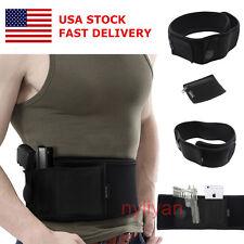 US Concealed Elastic Handgun Carry Waist Belly Band gun Holster&Zipper bag Black