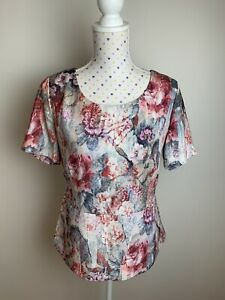 LAURA ASHLEY Size 10 / M Floral Top Pink Multicoloured Short Sleeve Work Summer