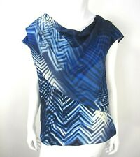 Boss Hugo Boss Short sleeve 100% Silk Cowl Neck blouse Top Size 8 Blue