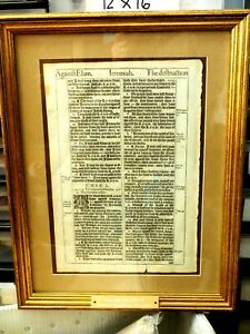 Jeremiah Verse 49-50 King James Bible 1611 A.D. Wonderfully Framed w Name Plate