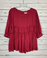Entro Boutique Women's S Small Red Ruffle Sleeves Cute Top Tunic Blouse Shirt