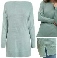 NEW! NEXT Womens SO Soft, Comfy Cosy Rib Jumper Tunic Top Cream & Sage ALL SIZES