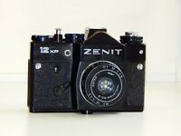 "ZENIT 12XP EXPORT BLACK EDITION USSR SLR film camera w/s lens ""Industar-50"" EXC"