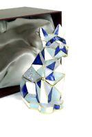 VI N VI White Blue Dog puppy Jewelry Trinket Box Geometric Origami Animal Décor