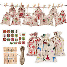 Christmas DIY Advent Calendar Countdown 1-24 Numbers Bag Candy Storage PouchJQA